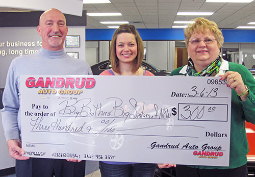 Big Brothers and Big Sister's Donation Check from Gandrud