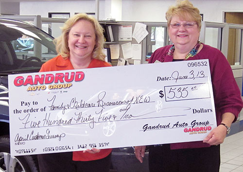 Gandrud Donation to Family & Childcare Recourses of N.E.W.