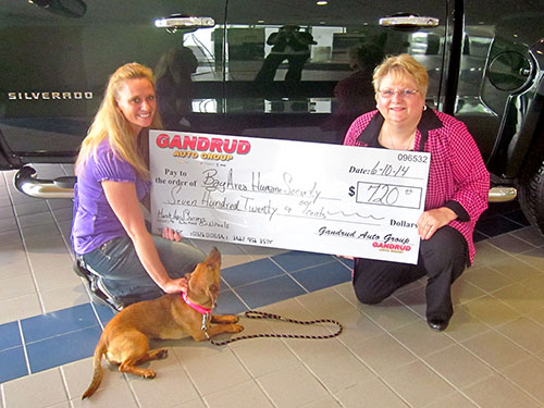 Gandrud Auto Group Donation to Bay Area Humane Society in Green Bay, WI