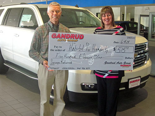Gandrud Auto Group Donation to Habitat for Humanity in DePere, WI